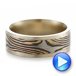 Men's Unplated White Gold and Mokume Wedding Band - Interactive Video - 103892 - Thumbnail