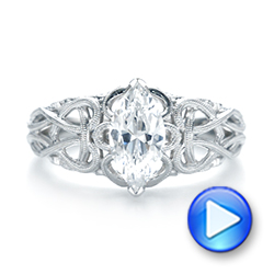 18k White Gold Filigree Marquise Diamond Solitaire Ring - Video -  103895 - Thumbnail