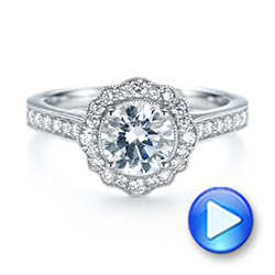 18k White Gold Diamond Halo Engagement Ring - Video -  103904 - Thumbnail