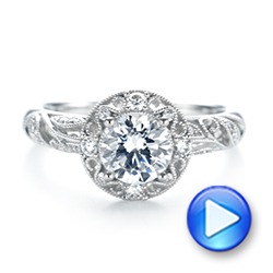 Diamond Halo Engagement Ring - Interactive Video - 103906 - Thumbnail