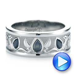 Custom Black Diamond Men's Wedding Band - Interactive Video - 103912 - Thumbnail