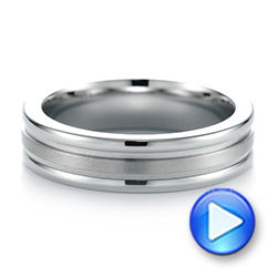 Tungsten and White Gold Men's Wedding Band - Interactive Video - 103921 - Thumbnail