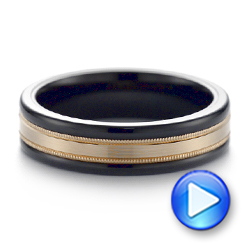 Black Tungsten and 14k Yellow Gold Wedding Ring - Interactive Video - 103923 - Thumbnail