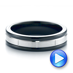 Black Tungsten and 14k White Gold Wedding Ring - Interactive Video - 103925 - Thumbnail