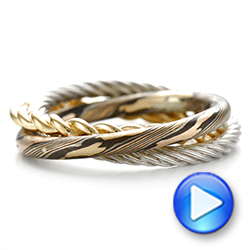 Custom Braided Mokume, White and Yellow Gold Wedding Band - Interactive Video - 103986 - Thumbnail