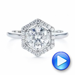 Custom Diamond Halo Engagement Ring - Interactive Video - 103992 - Thumbnail