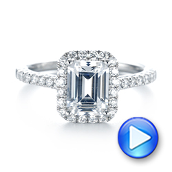 Emerald Halo Diamond Engagement Ring - Interactive Video - 103997 - Thumbnail