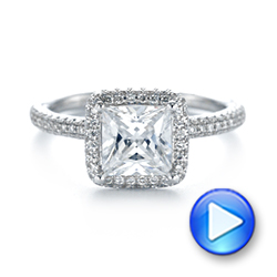 Princess Diamond Halo Engagement Ring - Interactive Video - 103998 - Thumbnail