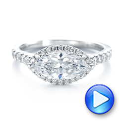 Marquise Halo Diamond Engagement Ring - Interactive Video - 104001 - Thumbnail