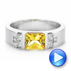 Custom Yellow Sapphire and Diamond Men's Band - Interactive Video - 104023 - Thumbnail