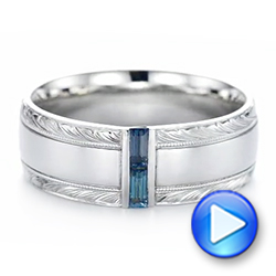 Custom Hand Engraved London Blue Topaz Men's Band - Interactive Video - 104028 - Thumbnail