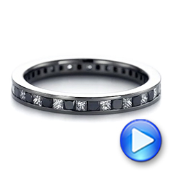 Platinum Platinum Custom Black And White Diamond Wedding Band - Video -  104030 - Thumbnail