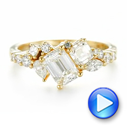 Custom Yellow Gold Diamond Cluster Engagement Ring - Interactive Video - 104052 - Thumbnail