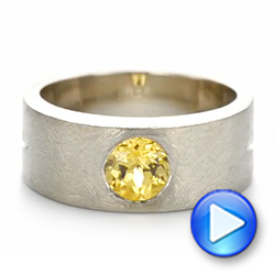14k White Gold Custom Unplated Yellow Sapphire Hand Engraved Men's Band - Video -  104056 - Thumbnail