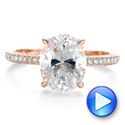 14K Rose Gold Oval Diamond Engagement Ring - Interactive Video - 104080 - Thumbnail