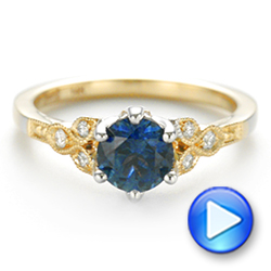 14k Yellow Gold And 14K Gold Custom Two-tone Blue Sapphire And Diamond Engagement Ring - Video -  104084 - Thumbnail