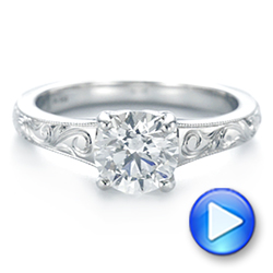 Platinum Custom Hand Engraved Solitaire Diamond Engagement Ring - Video -  104085 - Thumbnail