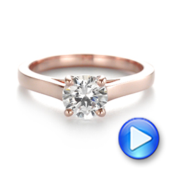 Rose Gold Solitaire Diamond Engagement Ring - Interactive Video - 104086 - Thumbnail