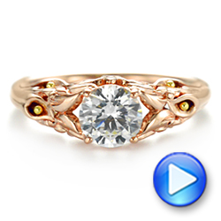14k Rose Gold Floral Two-tone Diamond Engagement Ring - Video -  104089 - Thumbnail