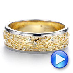14k Yellow Gold And 14K Gold Custom Hand Engraved Two-tone Diamond Men's Band - Video -  104095 - Thumbnail