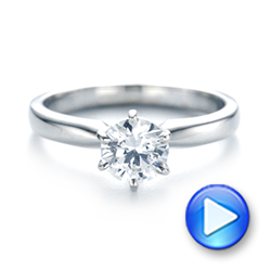 14k White Gold Solitaire Six Prong Engagement Ring - Video -  104096 - Thumbnail
