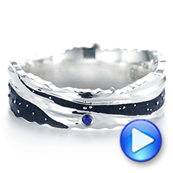 14k White Gold Custom Blue Sapphire Black Antiqued Men's Band - Video -  104112 - Thumbnail
