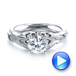 18k White Gold Floral Solitaire Diamond Engagement Ring - Video -  104117 - Thumbnail
