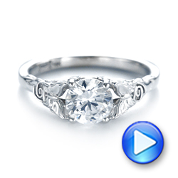 Floral Solitaire Diamond Engagement Ring - Interactive Video - 104122 - Thumbnail