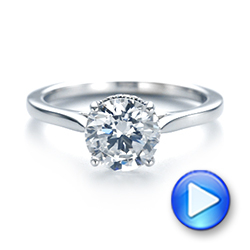 18k White Gold Micro Pave Diamond Engagement Ring - Video -  104125 - Thumbnail