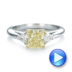 Three-stone Yellow And White Diamond Engagement Ring - Video -  104134 - Thumbnail