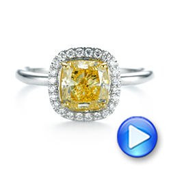 Yellow and White Diamond Halo Engagement Ring - Interactive Video - 104135 - Thumbnail