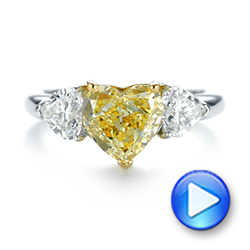 Three-stone Heart Diamond Engagement Ring - Interactive Video - 104139 - Thumbnail