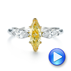 Yellow and White Marquise Diamond Engagement Ring - Interactive Video - 104141 - Thumbnail