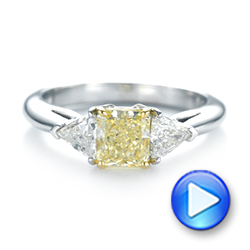 Yellow And White Diamond Engagement Ring - Video -  104142 - Thumbnail