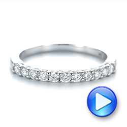 18k White Gold Shared Prong Basket-set Diamond Wedding Band - Video -  104164 - Thumbnail
