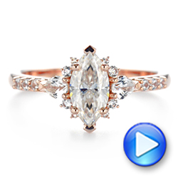 14k Rose Gold Custom Pear And Marquise Diamond Engagement Ring - Video -  104172 - Thumbnail