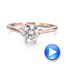14k Rose Gold Solitaire Diamond Engagement Ring - Video -  104173 - Thumbnail