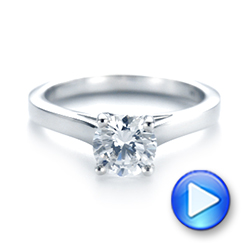 18k White Gold Solitaire Diamond Engagement Ring - Video -  104174 - Thumbnail
