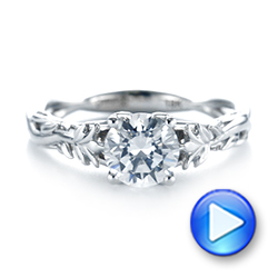 Floral Solitaire Diamond Engagement Ring - Interactive Video - 104176 - Thumbnail