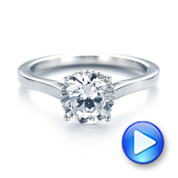 Platinum Micro Pave Diamond Engagement Ring - Interactive Video - 104178 - Thumbnail