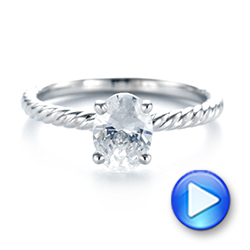 14k White Gold Braided Solitaire Diamond Engagement Ring - Video -  104179 - Thumbnail