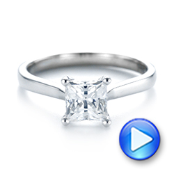 14k White Gold Solitaire Diamond Engagement Ring - Video -  104180 - Thumbnail
