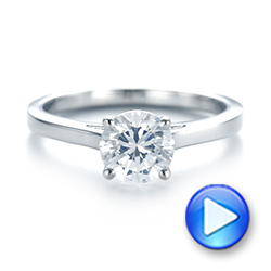 18k White Gold Diamond Solitaire Engagement Ring - Video -  104185 - Thumbnail