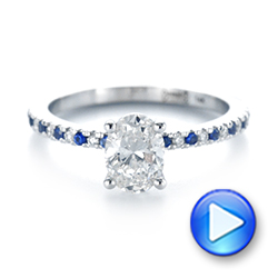 14k White Gold Custom Blue Sapphire And Diamond Engagement Ring - Video -  104207 - Thumbnail