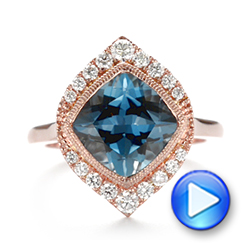 18k Rose Gold London Blue Topaz And Diamond Fashion Ring - Video -  104249 - Thumbnail