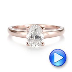 14k Rose Gold Oval Diamond Engagement Ring - Video -  104252 - Thumbnail