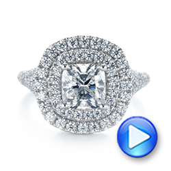 Platinum Custom Halo Pave Diamond Engagement Ring - Video -  104254 - Thumbnail