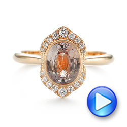 Custom Peach Sapphire and Diamond Halo Engagement Ring - Interactive Video - 104261 - Thumbnail