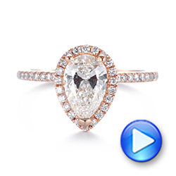 14k Rose Gold Custom Diamond Halo Engagement Ring - Video -  104264 - Thumbnail