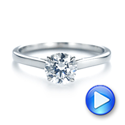 14k White Gold Peekaboo Princess Cut Diamond Engagement Ring - Video -  104266 - Thumbnail
